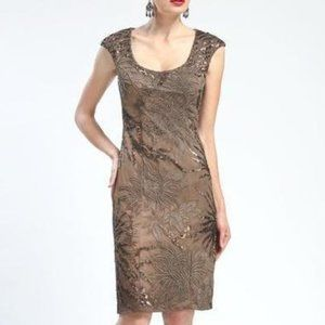 Cap Sleeve Scoop Neck Embroidered & Sequined Dress
